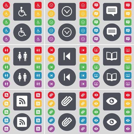 personne handicap�e: Personne handicap�e, Fl�che bas, chat bulle, Silhouette, m�dias sauter, livre, RSS, Clip, symbole Vision ic�ne. Un vaste ensemble de plats, des boutons de couleur pour votre conception. Vector illustration