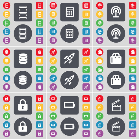 videotape: Videotape, Calculator, Wi-Fi, Database, Rocket, Shopping bag, Lock, Battery, Clapper icon symbol. A large set of flat, colored buttons for your design. Vector illustration