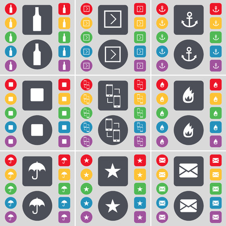 skip: Bottle, Arrow right, Anchor, Media skip, Connetion, Fire, Umbrella, Star, Message icon symbol. A large set of flat, colored buttons for your design. Vector illustration