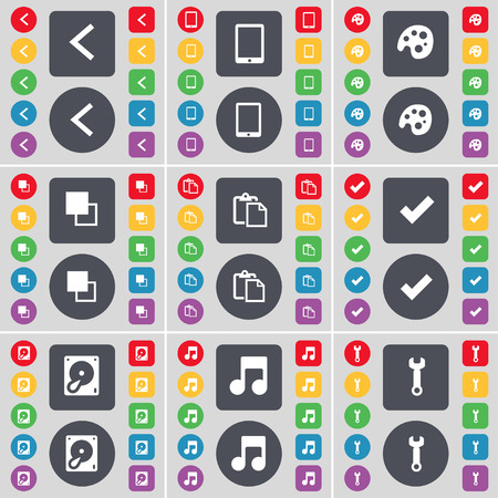 note pc: Arrow left, Tablet PC, Palette, Copy, Survey, Tick, Hard drive, Note, Wrench icon symbol. A large set of flat, colored buttons for your design. Vector illustration