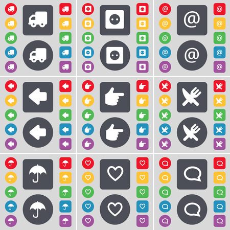 chat bubble icon: Truck, Socket, Mail, Arrow left, Hand, Fork and knife, Umbrella, Heart, Chat bubble icon symbol. A large set of flat, colored buttons for your design. Vector illustration