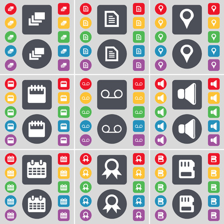 sound card: Gallery, Text file, Checkpoint, Calendar, Cassette, Sound, Medal, SIM card icon symbol. A large set of flat, colored buttons for your design. Vector illustration Illustration