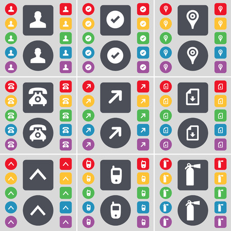 retro telefon: Avatar, Tick, Checkpoint, Retro phone, Full screen, Download file, Arrow up, Mobile phone, Fire extinguisher icon symbol. A large set of flat, colored buttons for your design. Vector illustration Illustration