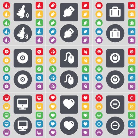 usb disk: Bell, USB, Suitcase, Disk, Mouse, Power, Monitor, Heart, Minus icon symbol. A large set of flat, colored buttons for your design. Vector illustration