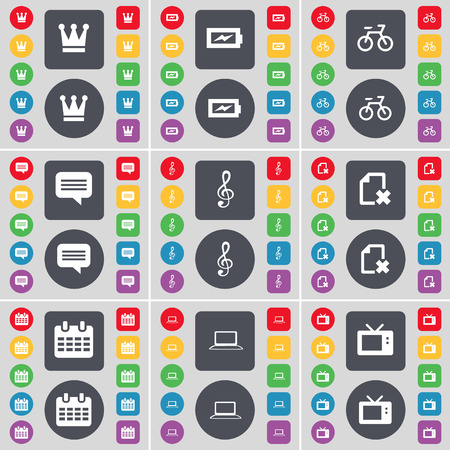 chat bubble vector: Crown, Chat bubble, Bicycle, Chat bubble, Clef, File, Calendar, Laptop, Retro TV icon symbol. A large set of flat, colored buttons for your design. Vector illustration