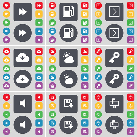 arrow right: Rewind, Gas station, Arrow right, Cloud, Weather, Key, Sound, Floppy, Mailbox icon symbol. A large set of flat, colored buttons for your design. Vector illustration