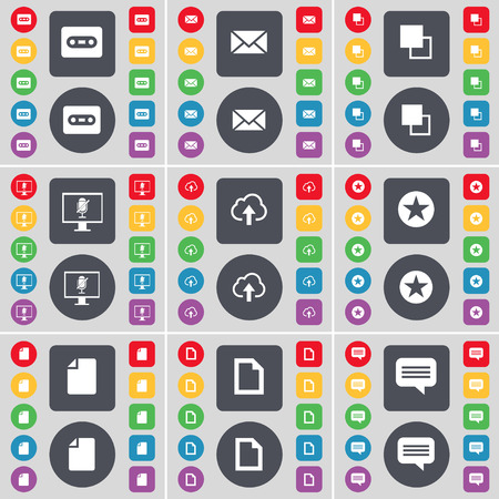 chat bubble icon: Cassette, Message, Copy, Monitor, Cloud, Star, File, Chat bubble icon symbol. A large set of flat, colored buttons for your design. Vector illustration Illustration