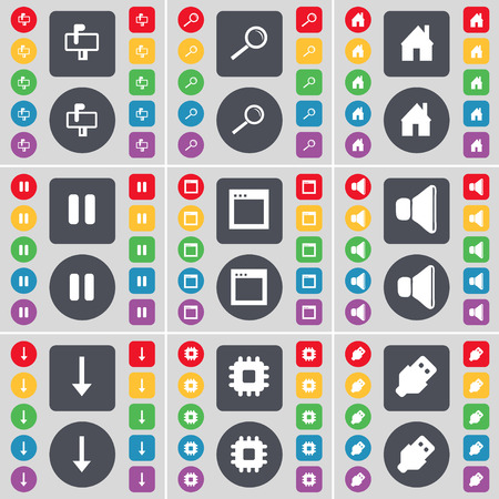 freccia giù: Mailbox, Lente d'ingrandimento, Casa, Pausa, Finestra, suono, Freccia gi�, processore, icona USB simbolo. Un grande insieme di piatti, pulsanti colorati per il vostro disegno. Illustrazione vettoriale Vettoriali