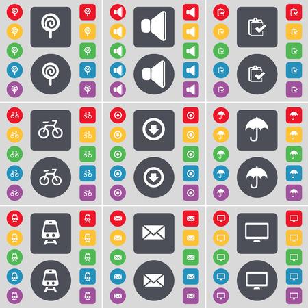freccia giù: Lollipop, Sound, Survey, Bicycle, Arrow down, Umbrella, Train, Message, Monitor icon symbol. A large set of flat, colored buttons for your design. Vector illustration Vettoriali