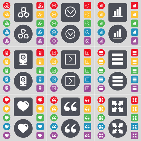 arrow right: Gear, Arrow down, Diagram, Speaker, Arrow right, Apps, Heart, Quotation mark, Full screen icon symbol. A large set of flat, colored buttons for your design. Vector illustration Vettoriali