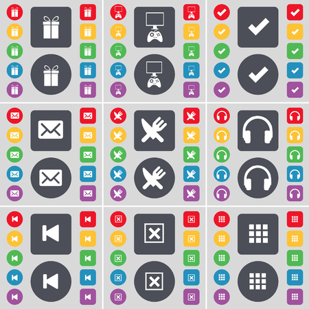 game console: Gift, Game console, Tick, Message, Fork and knife, Headphones, Media skip, Stop, Apps icon symbol. A large set of flat, colored buttons for your design. Vector illustration
