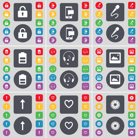 lock up: Lock, SMS, Microphone, Battery, Headphones, Window, Arrow up, Heart, Lens icon symbol. A large set of flat, colored buttons for your design. Vector illustration