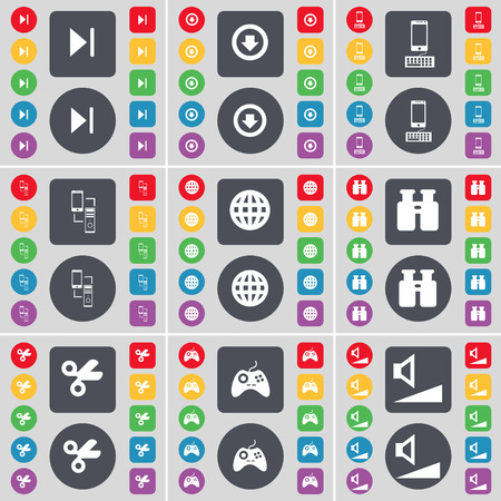 arrow down: Media skip, Arrow down, Smartphone, Connection, Globe, Binoculars, Scissors, Gamepad, Volume icon symbol. A large set of flat, colored buttons for your design. Vector illustration Illustration