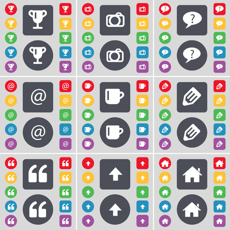 chat up: Cup, Camera, Chat bubble, Mail, Cup, Pencil, Quotation mark, Arrow up, House icon symbol. A large set of flat, colored buttons for your design. Vector illustration Illustration