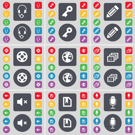 videotape: Headphones, Key, Pencil, Videotape, Earth, Gallery, Mute, File, Microphone icon symbol. A large set of flat, colored buttons for your design. Vector illustration