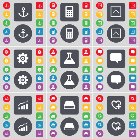 heart gear: Anchor, Calculator, Arrow up, Gear, Flask, Chat bubble, Graph, Hard drive, Heart icon symbol. A large set of flat, colored buttons for your design. Vector illustration Illustration