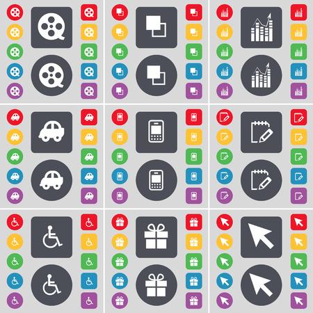personne handicap�e: Videotape, Copier, Sch�ma, voiture, t�l�phone portable, ordinateur portable, handicap�s, cadeau, symbole curseur de l'ic�ne. Un vaste ensemble de plats, des boutons de couleur pour votre conception. Vector illustration Illustration