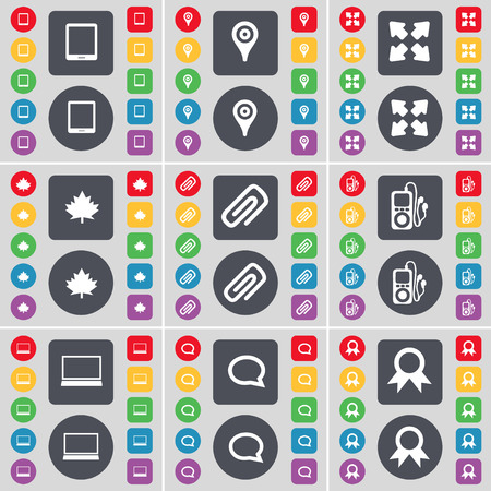 checkpoint: Tablet PC, Checkpoint, Full screen, Maple leaf, Clip, MP3 player, Laptop, Chat bubble, Medal icon symbol. A large set of flat, colored buttons for your design. Vector illustration