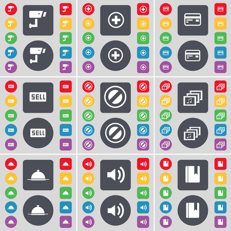 sound card: CCTV, Plus, Credit card, Sell, Stop, Gallery, Tray, Sound, Dictionary icon symbol. A large set of flat, colored buttons for your design. Vector illustration
