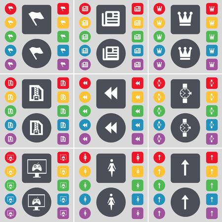 orologio da polso: Bandiera, Giornale, Corona, file ZIP, Rewind, Orologio da polso, Monitor, Sagoma, Freccia fino icona simbolo. Un grande insieme di piatti, pulsanti colorati per il vostro disegno. Illustrazione vettoriale