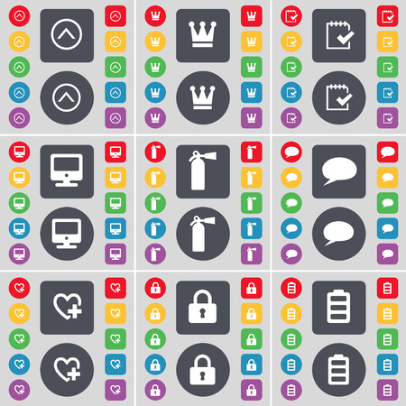 lock up: Arrow up, Crown, Survey, Monitor, Fire extinguisher, Chat bubble, Heart, Lock, Battery icon symbol. A large set of flat, colored buttons for your design. Vector illustration