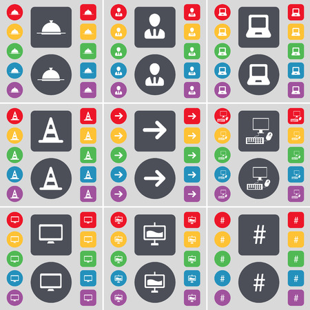 pc monitor: Tray, Avatar, Laptop, Cone, Arrow right, PC, Monitor, Graph, Hashtag icon symbol. A large set of flat, colored buttons for your design. Vector illustration Illustration