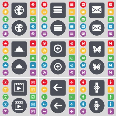 media player: Earth, Apps, Message, Tray, Plus, Buttery, Media player, Arrow left, Wrist watch icon symbol. A large set of flat, colored buttons for your design. Vector illustration
