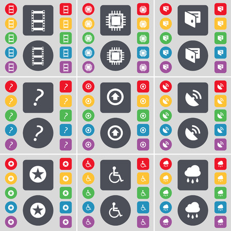disabled person: Negative films, Processor, Wallet, Question mark, Arrow up, Satellite dish, Star, Disabled person, Cloud icon symbol. A large set of flat, colored buttons for your design. Vector illustration