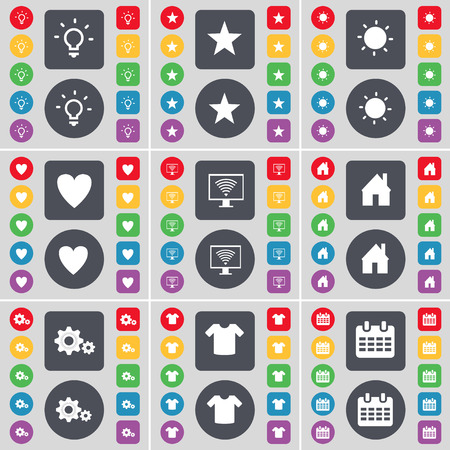 heart monitor: Light bulb, Star, Light bulb, Heart, Monitor, House, Gear, T-Shirt, Calendar icon symbol. A large set of flat, colored buttons for your design. Vector illustration Illustration
