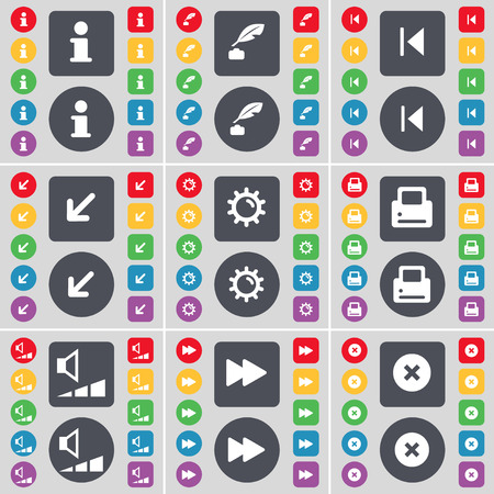 ink pot: Information, Ink pot, Media skip, Deploying screen, Gear, Printer, Volume, Rewind, Stop icon symbol. A large set of flat, colored buttons for your design. Vector illustration