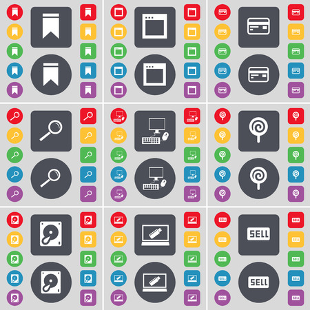 hard sell: Marker, Window, Credit card, Magnifying glass, PC, Lollipop, Hard drive, Laptop, Sell icon symbol. A large set of flat, colored buttons for your design. Vector illustration