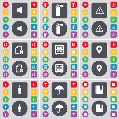 checkpoint: Sound, Fire extinguisher, Warning, File, Bed-table, Checkpoint, Silhouette, Umbrella, Dictionary icon symbol. A large set of flat, colored buttons for your design. Vector illustration
