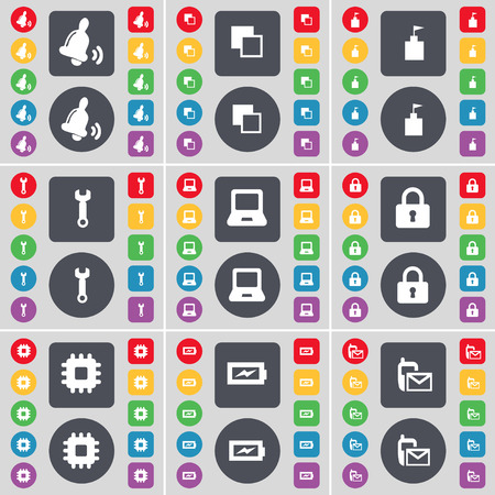 bell tower: Bell, Copy, Flag tower, Wrench, Laptop, Lock, Processor, Charging, SMS icon symbol. A large set of flat, colored buttons for your design. Vector illustration