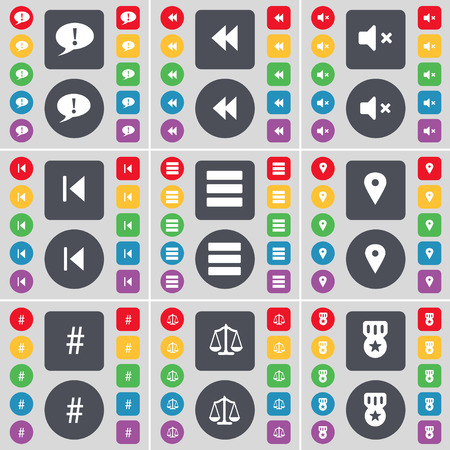 skip: Chat bubble, Rewind, Mute, Media skip, Apps, Checkpoint, Hashtag, Scales, Medal icon symbol. A large set of flat, colored buttons for your design. Vector illustration