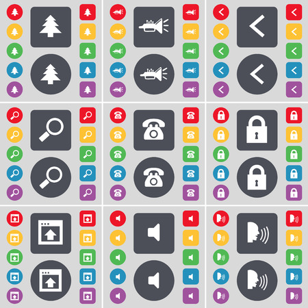 retro telefon: Firtree, Trumped, Arrow left, Magnnifying glass, Retro phone, Lock, Window, Sound, Talk icon symbol. A large set of flat, colored buttons for your design. Vector illustration Illustration