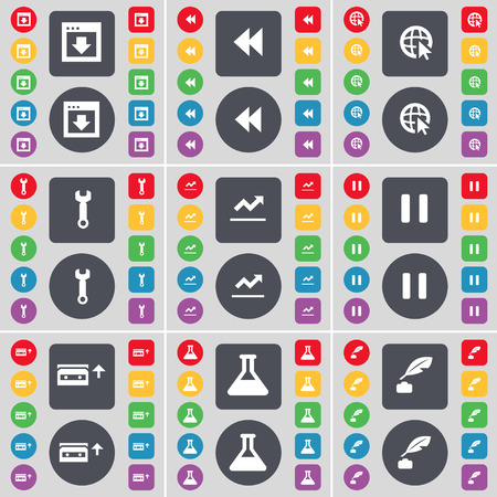 ink pot: Window, Rewind, Web cursor, Wrench, Graph, Pause, Cassette, Flask, Ink pot icon symbol. A large set of flat, colored buttons for your design. Vector illustration Illustration