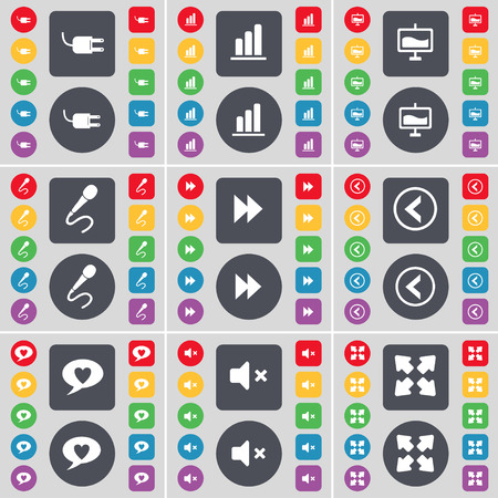 full screen: Socket, Diagram, Graph, Microphone, Rewind, Arrow left, Chat bubble, Mute, Full screen icon symbol. A large set of flat, colored buttons for your design. Vector illustration