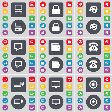 lock up: Laptop, Lock, Palette, Chat bubble, Wallet, Retro phone, Laptop, Monitor, Arrow up icon symbol. A large set of flat, colored buttons for your design. Vector illustration Illustration