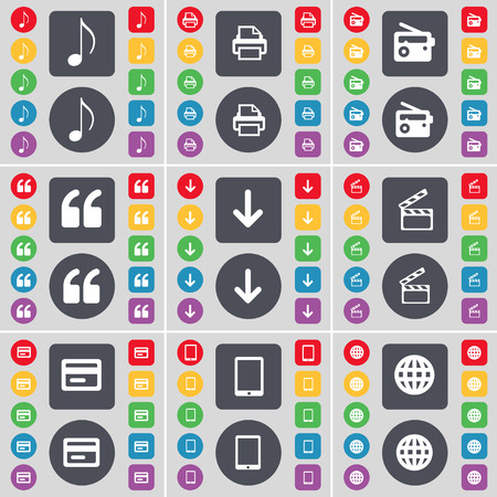 note pc: Note, Printer, Radio, Quotation mark, Arrow down, Clapper, Credit card, Tablet PC, Globe icon symbol. A large set of flat, colored buttons for your design. Vector illustration