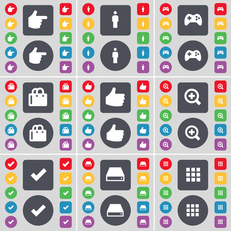 hard drive: Hand, Silhouette, Gamepad, Shopping bag, Like, Magnifying glass, Tick, Hard drive, Apps icon symbol. A large set of flat, colored buttons for your design. Vector illustration