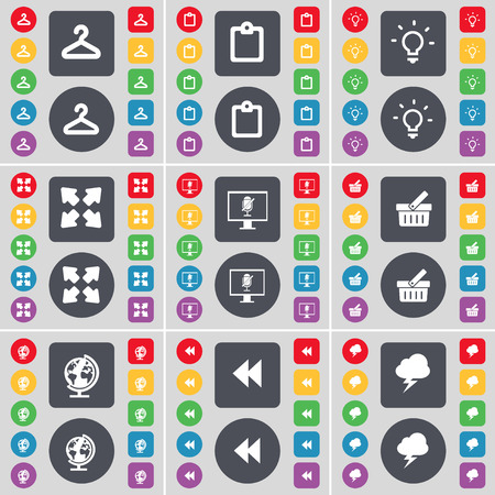 full screen: Hanger, Survey, Light bulb, Full screen, Monitor, Basket, Globe, Rewind, Lightning icon symbol. A large set of flat, colored buttons for your design. Vector illustration