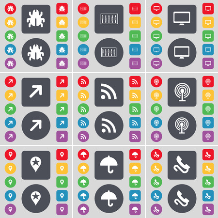 full screen: Bug, Equalizer, Monitor, Full screen, RSS, Wi-Fi, Checkpoint, Umbrella, Receiver icon symbol. A large set of flat, colored buttons for your design. Vector illustration