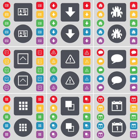 arrow down: Contact, Arrow down, Bug, Arrow up, Warning, Chat bubble, Apps, Copy, Calendar icon symbol. A large set of flat, colored buttons for your design. Vector illustration Illustration