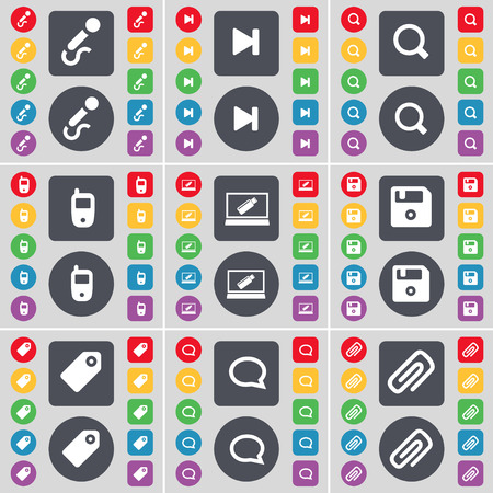 chat bubble: Microphone, Media skip, Magnifying glass, Mobile phone, Laptop, Floppy, Tag, Chat bubble, Clip icon symbol. A large set of flat, colored buttons for your design. Vector illustration