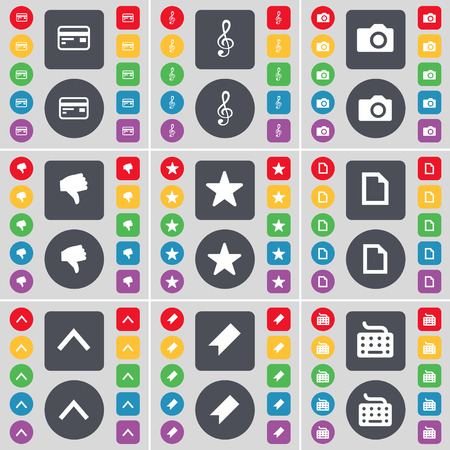 up marker: Credit card, Clef, Camera, Dislike, Star, File, Arrow up, Marker, Keyboard icon symbol. A large set of flat, colored buttons for your design. Vector illustration
