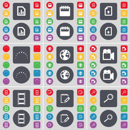 magnifying glass icon: Diagram, Calendar, Upload file, Stars, Earth, Film camera, Negative films, Notebook, Magnifying glass icon symbol. A large set of flat, colored buttons for your design. Vector illustration Illustration