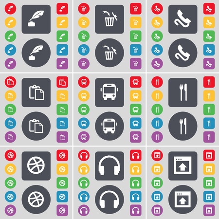 ink pot: Ink pot, Trash can, Receiver, Survey, Bus, Fork and knife, Ball, Headphones, Window icon symbol. A large set of flat, colored buttons for your design. Vector illustration