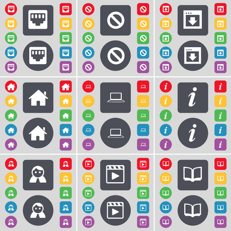media player: LAN socket, Stop, Window, House, Laptop, Information, Avatar, Media player, Book icon symbol. A large set of flat, colored buttons for your design. Vector illustration