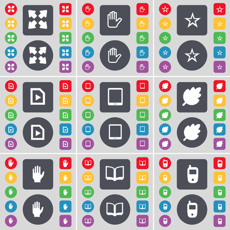 tablet pc in hand: Full screen, Hand, Star, Media file, Tablet PC, Leaf, Hand, Book, Mobile phone icon symbol. A large set of flat, colored buttons for your design. Vector illustration
