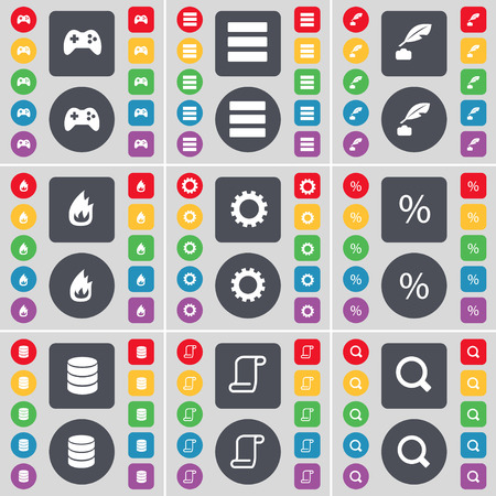 magnifying glass icon: Gamepad, Apps, Ink pen, Fire, Gear, Percent, Database, Scroll, Magnifying glass icon symbol. A large set of flat, colored buttons for your design. Vector illustration